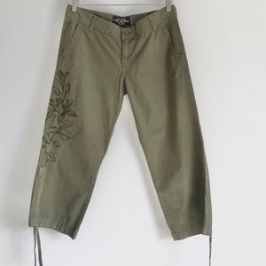 SOLD Lucky Brand Olive Green Cargo Embroiled Pants